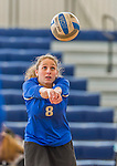 18 October 2015: Yeshiva University Maccabee Defensive Specialist and Outside Hitter Yael Green, a Sophomore from Brookline, MA, warms up prior to a game against the College of Mount Saint Vincent Dolphins at the Peter Sharp Center, in Riverdale, NY. The Dolphins defeated the Maccabees 3-0 in the NCAA Division III Women's Volleyball Skyline matchup. Mandatory Credit: Ed Wolfstein Photo *** RAW (NEF) Image File Available ***