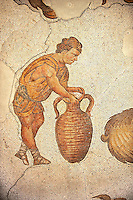 6th century Byzantine Roman mosaics of a man with an amphora from the peristyle of the Great Palace from the reign of Emperor Justinian I. Istanbul, Turkey.