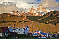 The imposing Fitzroy Mastif, crowned with clouds, stands watch over Parque Nacionales los Glaciares (Norte) and the small town on El Chalten in Southern Patagonia.