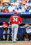 28 February 2011: Washington Nationals' outfielder Bryce Harper returns to the dugout after striking out during a Spring Training game against the New York Mets at Digital Domain Park in Port St. Lucie, Florida. The Nationals defeated the Mets 9-3 in Grapefruit League action. Mandatory Credit: Ed Wolfstein Photo