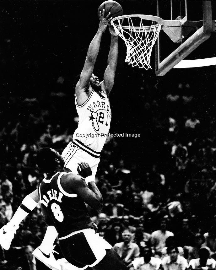 Golden State Warrior World Free dunks.(1982 photo by Ron Riesterer)