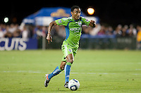 James Riley dribbles the ball. The Seattle Sounders defeated the San Jose Earthquakes 1-0 in the second annual Heritage Cup at Buckshaw Stadium in Santa Clara, California on July 31st, 2010.
