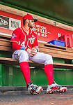 21 June 2015: Washington Nationals outfielder Bryce Harper awaits the start of play in the dugout prior to a game against the Pittsburgh Pirates at Nationals Park in Washington, DC. The Nationals defeated the Pirates 9-2 to sweep their 3-game weekend series, and improve their record to 37-33. Mandatory Credit: Ed Wolfstein Photo *** RAW (NEF) Image File Available ***