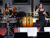 "Washington, DC - October 13, 2009 -- Gloria Estefan (R) and Sheila E. perform at a White House Music Series ""Fiesta Latina"" with U.S. President Barack Obama on the South Lawn of the White House in Washington on Tuesday, October 13, 2009..Credit: Alexis C. Glenn / Pool via CNP"
