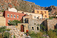 Houses of Monemvasia (  ) Byzantine Island catsle town with acropolis on the plateau.   Peloponnese, Greece