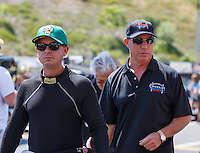 Jun 19, 2016; Bristol, TN, USA; NHRA top fuel driver Steve Torrence (left) and Pat Dakin during the Thunder Valley Nationals at Bristol Dragway. Mandatory Credit: Mark J. Rebilas-USA TODAY Sports