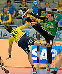 GER - Mannheim, Germany, September 23: During the DKB Handball Bundesliga match between Rhein-Neckar Loewen (yellow) and TVB 1898 Stuttgart (white) on September 23, 2015 at SAP Arena in Mannheim, Germany.  Gedeon Guardiola Villaplana #30 of Rhein-Neckar Loewen, Sebastian Arnold #16 of TVB 1898 Stuttgart<br /> <br /> Foto &copy; PIX-Sportfotos *** Foto ist honorarpflichtig! *** Auf Anfrage in hoeherer Qualitaet/Aufloesung. Belegexemplar erbeten. Veroeffentlichung ausschliesslich fuer journalistisch-publizistische Zwecke. For editorial use only.