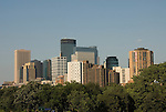 Minnesota, Twin Cities, Minneapolis-Saint Paul:  Minneapolis skyline from Walker Art Center..Photo mnqual283-75242..Photo copyright Lee Foster, www.fostertravel.com, 510-549-2202, lee@fostertravel.com.
