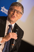 Bill Gates lors d'un &eacute;v&egrave;nement &agrave; Bruxelles, organis&eacute; par &quot; think tank Friends of Europe &quot; .<br /> Belgique, Bruxelles, 16 f&eacute;vrier 2017.<br /> Former CEO of Microsoft and founder of the Bill &amp; Melinda Gates Foundation Bill Gates pictured during the 'Shaping the world' event in attendance of US business magnate Bill Gates organized by ' think tank Friends of Europe '.<br /> Belgium, Brussels, 16 February 2017
