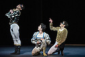 London, UK. 17.04.13. Canada's premier dance company The National Ballet of Canada returns to London after 26 years with its new production of Romeo and Juliet, which was created in 2011 to mark the company's 60th anniversary. Picture shows: Piotr Stanczyk (Mercutio), Guillaume Cote (Romeo) and Robert Stephen (Benvolio). Photograph © Jane Hobson.