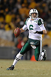PITTSBURGH, PA - JANUARY 23: Mark Sanchez #6 of the New York Jets rolls out to pass against the Pittsburgh Steelers in the AFC Championship Playoff Game at Heinz Field on January 23, 2011 in Pittsburgh, Pennsylvania. The Steelers defeated the Jets 24 to 19.(Photo by: Rob Tringali) *** Local Caption *** Mark Sanchez