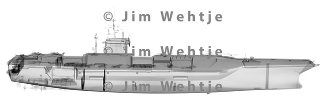 X-ray image of a Nimitz-class aircraft carrier (black on white) by Jim Wehtje, specialist in x-ray art and design images.