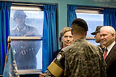 A North Korean Soldier looks in through the window of the T2 building as United States Secretary of State Hillary Rodham Clinton and U.S. Secretary of Defense Robert M. Gates tour the Demilitarized Zone (DMZ) in Korea, Wednesday, July 21, 2010.  .Mandatory Credit: Cherie Cullen - DoD via CNP