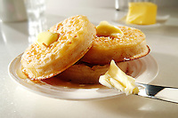 Buttered Crumpets stock photos