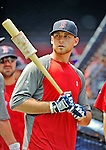 9 June 2012: Boston Red Sox infielder Will Middlebrooks awaits his turn in the batting cage prior to a game against the Washington Nationals at Fenway Park in Boston, MA. The Nationals defeated the Red Sox 4-2 in the second game of their 3-game series. Mandatory Credit: Ed Wolfstein Photo