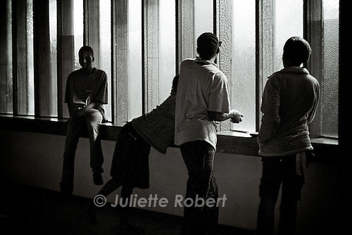 Some refugees having dinner in a corridor in Central Church. April 2009