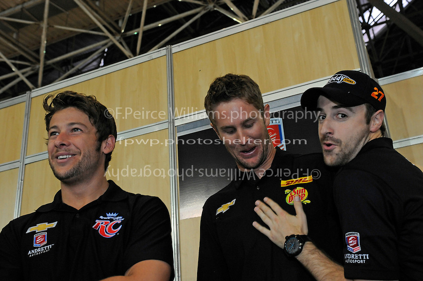 Three wise, bearded men, (L to R): Marco Andretti (#26), Ryan Hunter-Reay (#28) and James Hinchcliffe (#27).