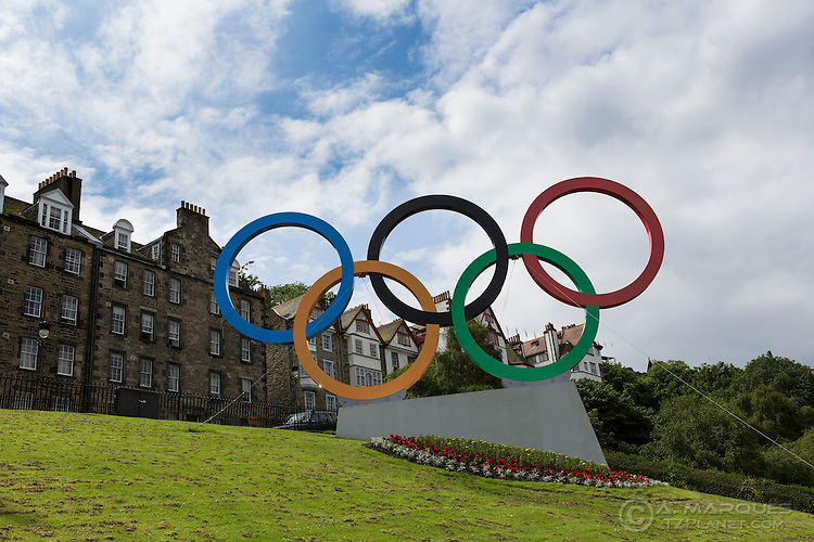 Olympic Rings erected on The Mound, Edinburgh, Scotland.  .The Olympic Rings were placed ahead of the arrival of the Olympic torch to Scotland's capital city on it's way to London.