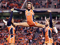 CHARLOTTESVILLE, VA- NOVEMBER 12: Virginia Cavalier cheerleaders perform during the game against the Duke Blue Devils on November 12, 2011 at Scott Stadium in Charlottesville, Virginia. Virginia defeated Duke 31-21. (Photo by Andrew Shurtleff/Getty Images) *** Local Caption ***