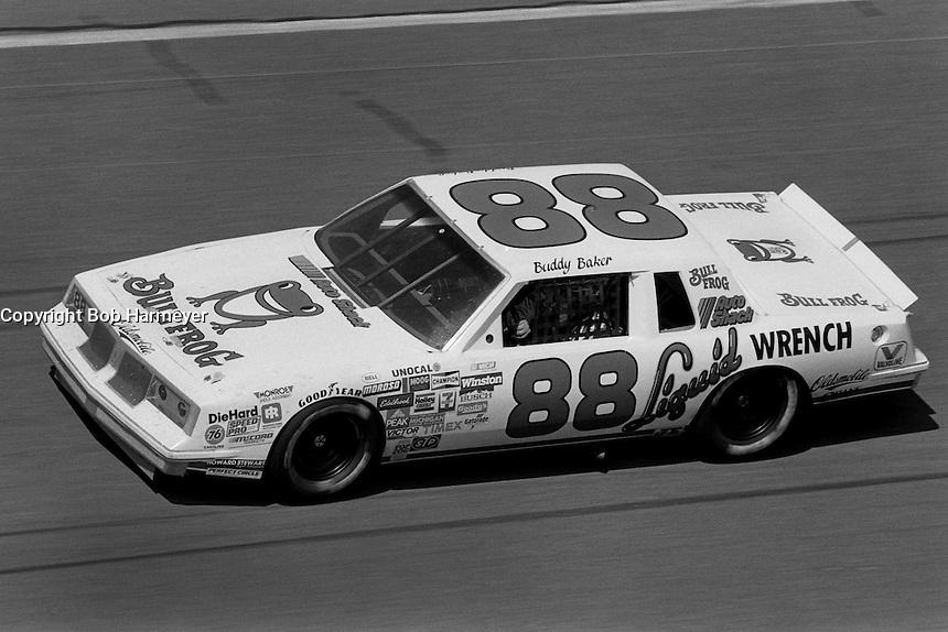 DAYTONA BEACH, FL - FEBRUARY 16: Buddy Baker drives his Oldsmobile during the Daytona 500 NASCAR Winston Cup race at the Daytona International Speedway in Daytona Beach, Florida, on February 16, 1986.