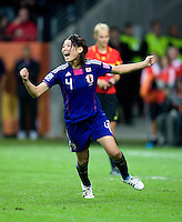 Saki Kumagai (4) of Japan celebrates her winning penalty kick during the final of the FIFA Women's World Cup at FIFA Women's World Cup Stadium in Frankfurt Germany.  Japan won the FIFA Women's World Cup on penalty kicks after tying the United States, 2-2, in extra time.
