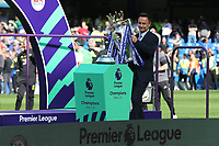 Former Chelsea player, Dennis Wise brings the Premier League Trophy onto the pitch in readiness for the presentation during Chelsea vs Sunderland AFC, Premier League Football at Stamford Bridge on 21st May 2017