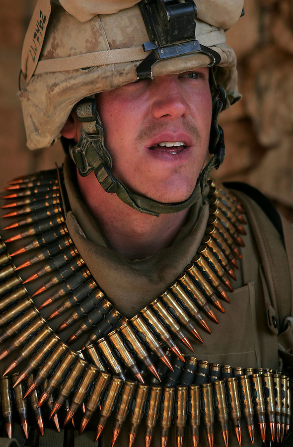 A Marine from Lima Co. 3rd Battalion 6th Marines during Operation Steel Curtain in Karabilah, Iraq on Fri. Nov. 11, 2005.