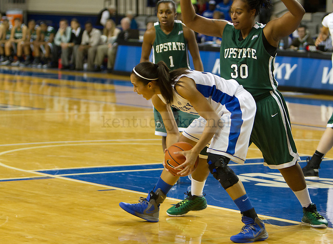 Junior F/C Samantha Drake tries to make a move in the paint during the UK Hoops vs USC Upstate Women's Basketball game in Lexington, Ky., on Sunday, November 25, 2012. Photo by Matt Burns | Staff