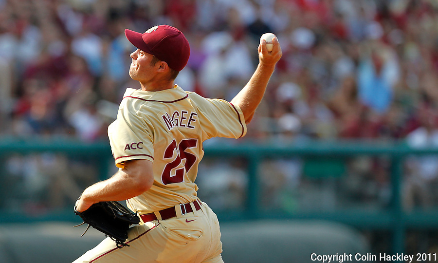TALLAHASSEE, FL 10-FSU-TAMUBASE11 CH-Florida State's Mike McGee pitches against Texas A&M Sunday at Dick Howser Stadium during NCAA Super Regional action in Tallahassee. The Seminoles beat the Aggies 23-9 to stay alive in the best of three series...COLIN HACKLEY PHOTO