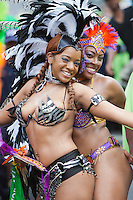 Parade participants in festive attire at the West Indian American Day Parade held on Monday, September 5, 2011 in Crown Heights, Brooklyn, New York.  The annual Labor Day event, which runs along Eastern Parkway, celebrates West Indian heritage and attracts 2-3 million spectators.