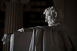 The nation's capitol, Washington, DC.<br /> A statue of President Lincoln inside the Lincoln Memorial Building.
