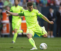 Seattle Sounders FC forward Mike Fucito takes a shot on goal during play against Manchester United at CenturyLink Field in Seattle Wednesday July 20, 2011. Manchester United won the match 7-0.