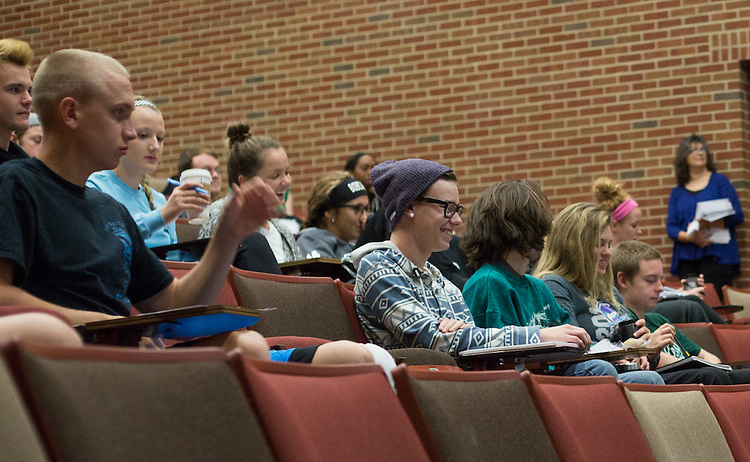 Students in a learning community listen to a lecture on successful study habits in Morton Hall on October 1, 2015. Photo by Emily Matthews