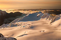 Sunset over Salisbury Snowfield of Franz Josef Glacier. West Coast in distance, Westland National Park, West Coast, Westland Tai Poutini National Park, World Heritage Area, New Zealand
