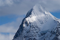 Snow covered summit of the famous Eiger, Bernese Alps, Switzerland