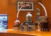 A pair of ivory tusks worth HK$4.25 million (GBP336,000.00) are seen on sale in 'Chinese Arts &amp; Crafts', Hong Kong, China, 29 November 2013. <br /> <br /> Photo by Alex Hofford / Sinopix