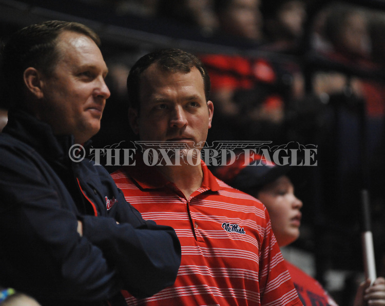 Ole Miss head football coach Hugh Freeze (left) and athletic director Ross Bjork vs. Missouri at the C.M. &quot;Tad&quot; Smith Coliseum on Saturday, January 12, 2013. Ole Miss defeated #10 ranked Missouri 64-49.