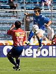 Cruz Azul forward Cesar Delgado (R) fights for the ball against Veracruz Tiburones midfielder Omar Rivera during their soccer match in the Azul Stadium in Mexico City, April 8, 2006. Cruz Azul won 3-0 to Veracruz... Photo by © Javier Rodriguez