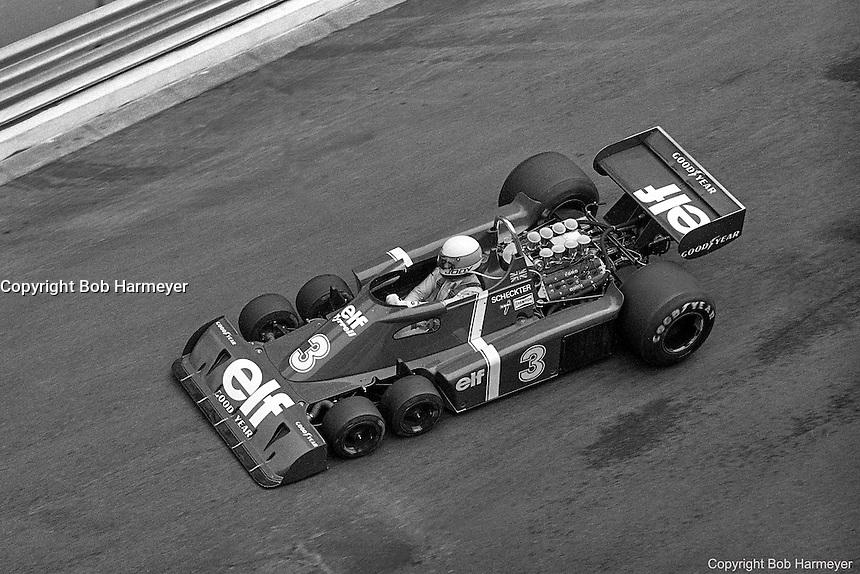 Jody Scheckter drives the Tyrrell P34 Formula 1 car during the 1976 Monaco Grand Prix.