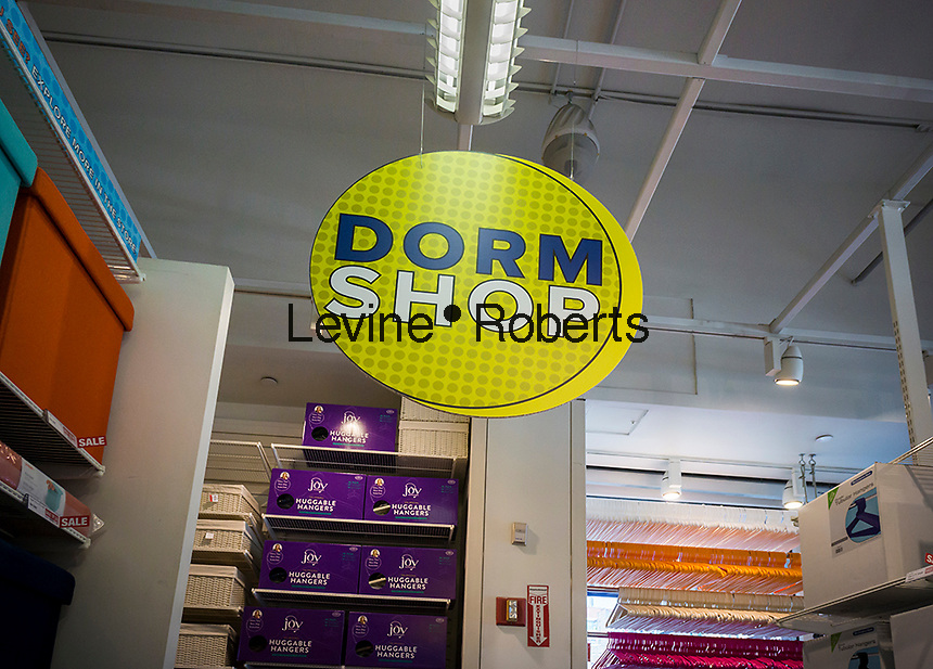 Back to school sign geared towards college students in a store in New York on Wednesday, July 27, 2016, 2015. The back to school shopping season is the second busiest time for retailers after Christmas.  (© Richard B. Levine)
