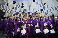 Skolkovo, Russia, 17/09/2011..New graduates toss their caps in the air during awards and fifth anniversary celebrations at Skolkovo Moscow School of Management. The prestige school, which was founded in 2006, is a joint project by major Russian and international business leaders.