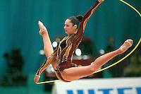 "Anna Bessonova of Ukraine split leaps with rope at 2008 World Cup Kiev, ""Deriugina Cup"" in Kiev, Ukraine on March 22, 2008."