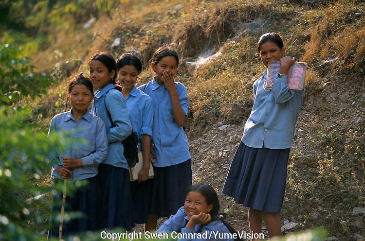 School girl's in Rolpa District, Nepal