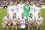 20 October 2014: U.S. starters. Front row (left to right): Whitney Engen (USA), Tobin Heath (USA), Christie Rampone (USA), Christen Press (USA), Meghan Klingenberg (USA). Back row (left to right): Megan Rapinoe (USA), Carli Lloyd (USA), Abby Wambach (USA), Ashlyn Harris (USA), Lauren Holiday (USA), Kelley O'Hara (USA). The United States Women's National Team played the Haiti Women's National Team at RFK Memorial Stadium in Washington, DC in a 2014 CONCACAF Women's Championship Group A game, which serves as a qualifying tournament for the 2015 FIFA Women's World Cup in Canada. The U.S. won the game 6-0.