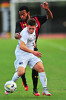 Austin Maloney of Penn State tries to keep the ball away from Terrapins Eryk Williamson. Maryland defeated Penn State in over time 3-2 during an NCAA D-1 soccer match at Ludwig Field in College Park, MD on Sunday, September 18, 2016.  Alan P. Santos/DC Sports Box