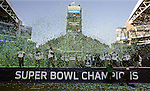 Confetti falls around the Seattle Seahawks during their Super Bowl Championship celebations at CenturyLink Field on February 5, 2014 in Seattle, Washington. ©2014. Jim Bryant Photo. ALL RIGHTS RESERVED.