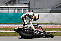 February 5, 2010 - Kuala Lampur, Malaysia - Pramac Racing rider Aleix Espargar&oacute; crashed during MotoGP testing on Sepang International Circuit on February 5, 2010. (Photo Andrew Northcott/Nippon News)