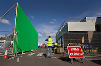 Cardonald - Glasgow, Scotland. The general view of super market set in Cardonald as filming continues on World War Z in Glasgow..Picture: Maurice McDonald/Universal News And Sport (Scotland). 20 August 2011. www.unpixs.com..