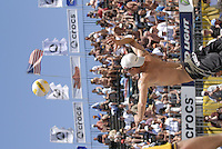 Huntington Beach, CA - 5/6/07:  Jake Gibb goes up for a serve during Gibb / Rosenthal's 21-17, 21-18 loss to Lambert / Metzger in the championship match of the AVP Cuervo Gold Crown Huntington Beach Open of the 2007 AVP Crocs Tour..Photo by Carlos Delgado