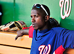 22 April 2010: Washington Nationals' center fielder Nyjer Morgan sits in the dugout prior to a game against the Colorado Rockies at Nationals Park in Washington, DC. The Nationals were shut out by the Rockies 2-0 closing out their series with a 2-2 game split. Mandatory Credit: Ed Wolfstein Photo